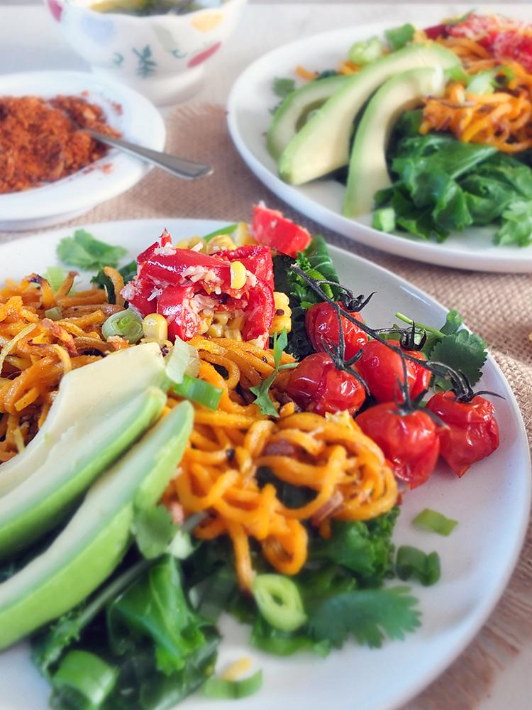 Roasted Corn, Sweet Potato Noodle and Avocado Salad with Toasted Buckwheat Dukkah