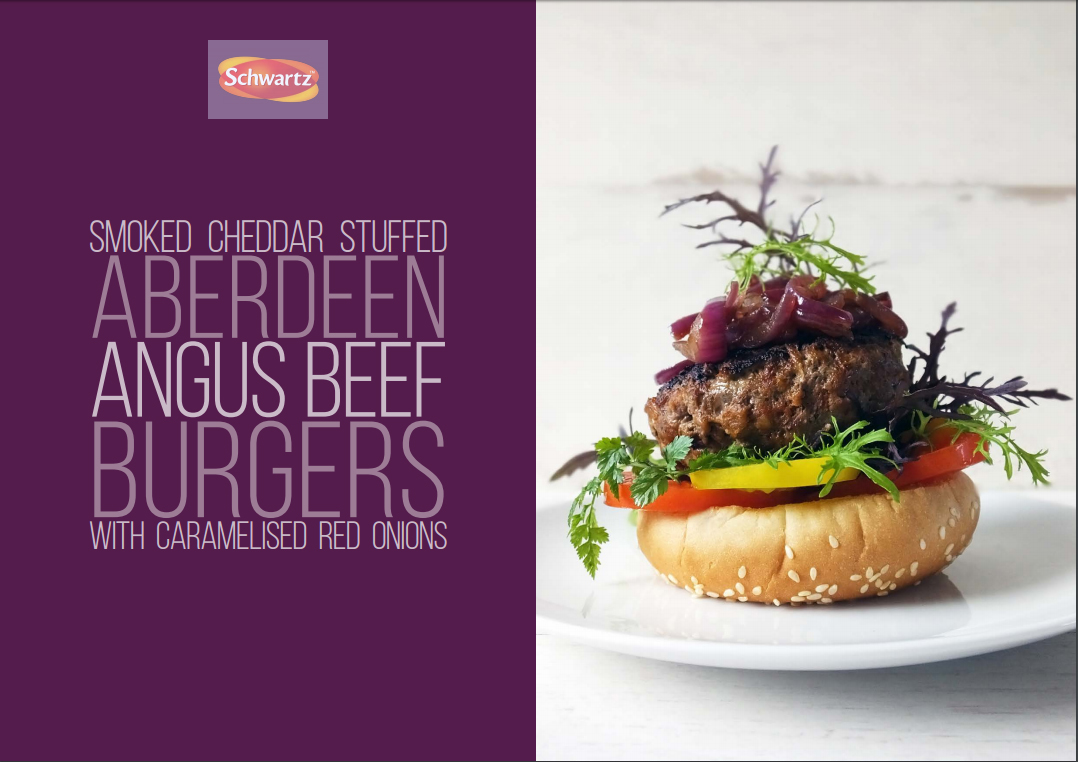 Smoked Cheddar Stuffed Aberdeen Angus Beef Burgers with Caramelized Red Onions