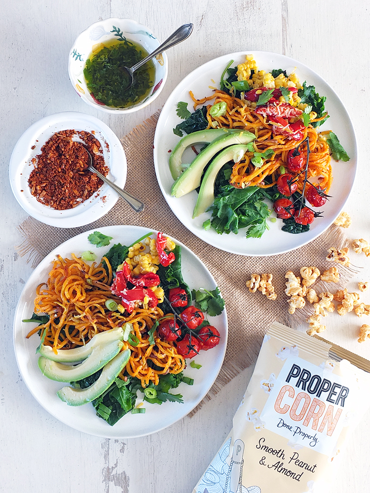 Roasted Corn, Sweet Potato Noodle and Avocado Salad with Toasted Buckwheat Dukkah