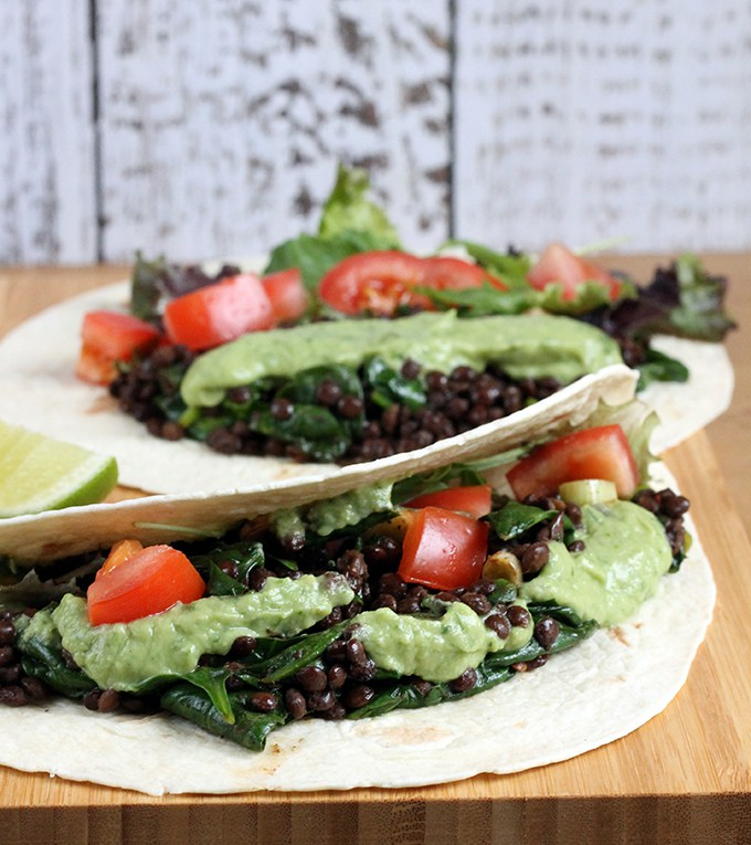 Chipotle Lentil Soft Tacos with Avocado Cream