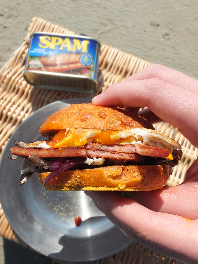 Fried Egg & Spam on Sundried Tomato and Parmesan Bread