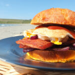 Fried Egg Picnic Spamwich on Sundried Tomato & Parmesan Bread