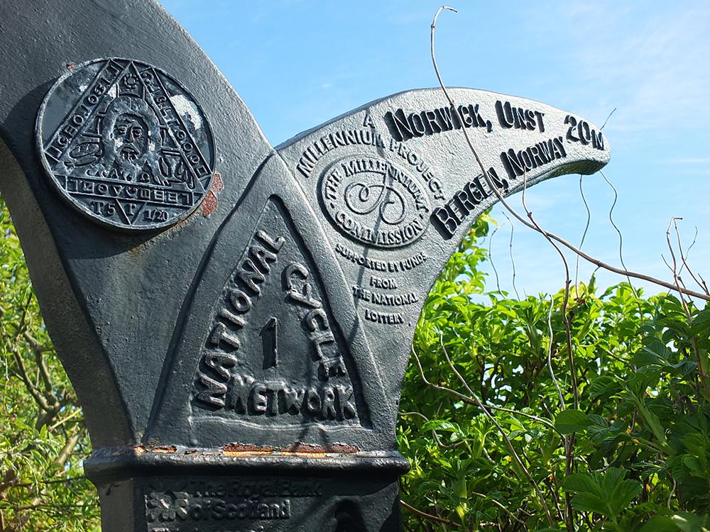 National Cycle Network 1 - Millenium Milepost Shetland