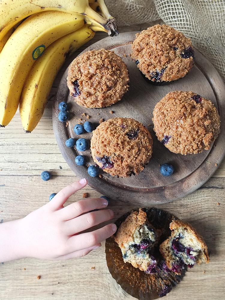 Banana Blueberry Streusel Muffins