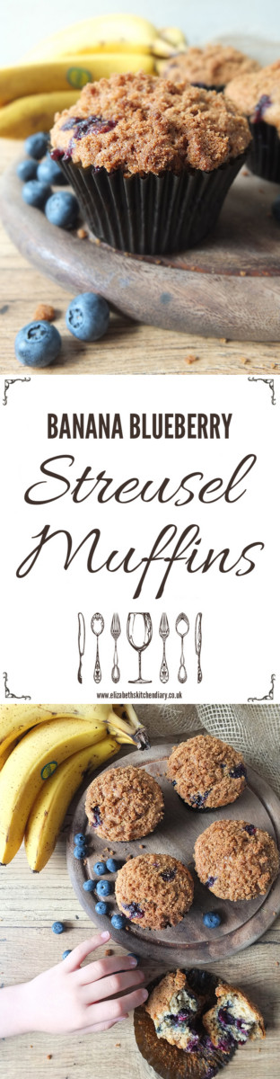 Banana Blueberry Streusel Muffins, a great way to use up over ripe bananas!