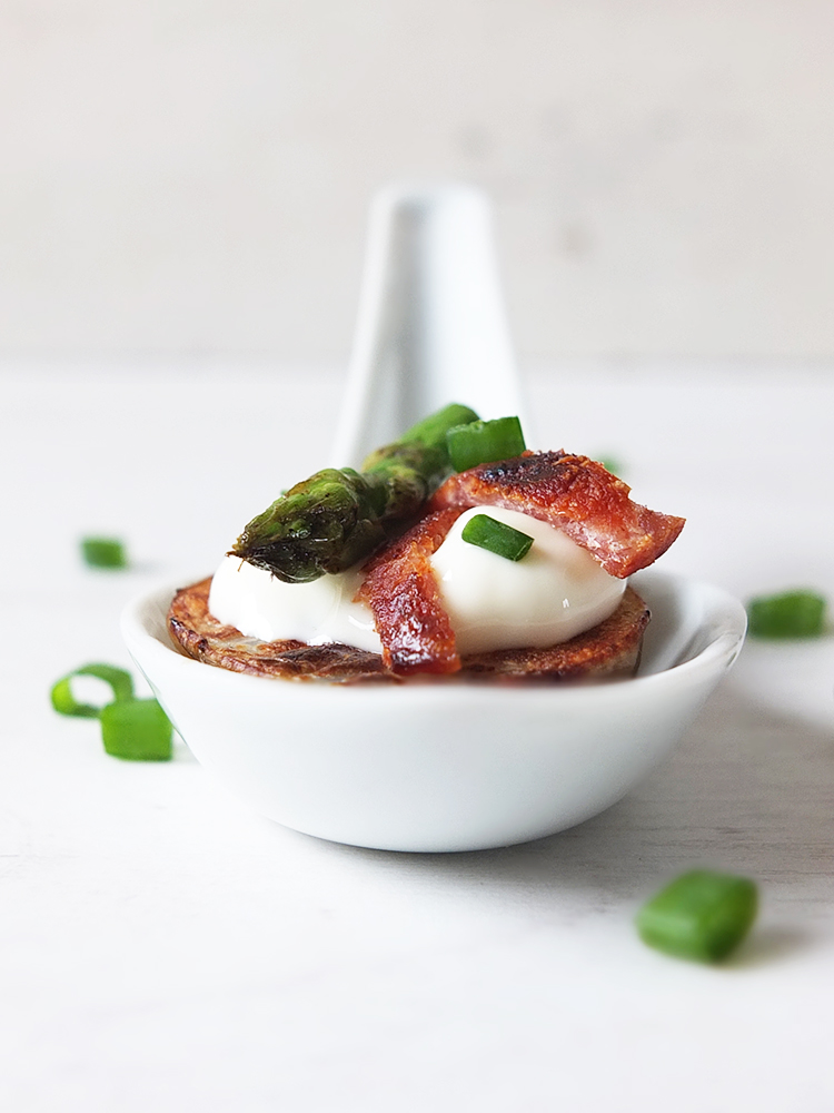 Potato Canapés with Bacon and Asparagus