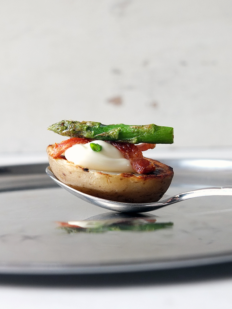 Potato Canapés with Bacon and Asparagus