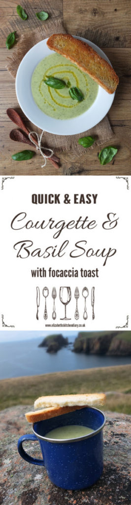 Courgette and Basil Soup with Focaccia Toas