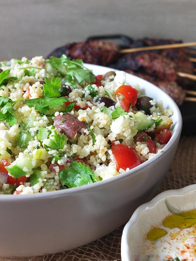 Mediterranean-inspired BBQ Koftas, Couscous Salad and Yogurt Dip