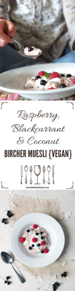 Vegan Bircher Muesli - a delicious combination of raspberries, blackcurrants and coconut yogurt made with Dorset Cereals Bircher mix.