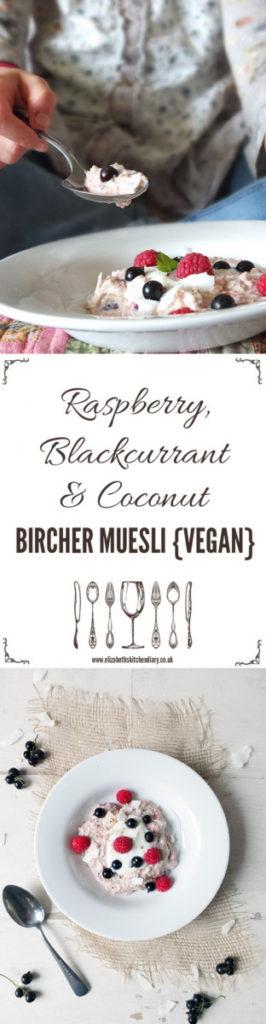 Vegan Bircher Muesli - a delicious combination of raspberries, blackcurrants and coconut yogurt made with Dorset Cereals Bircher mix.