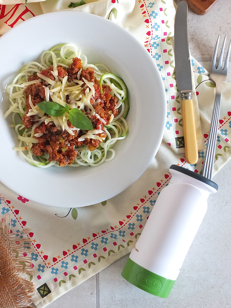 Courgetti Bolognese - a lower carb option.