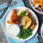 Homemade Fish Fingers, Potato Wedges & Tartare Sauce