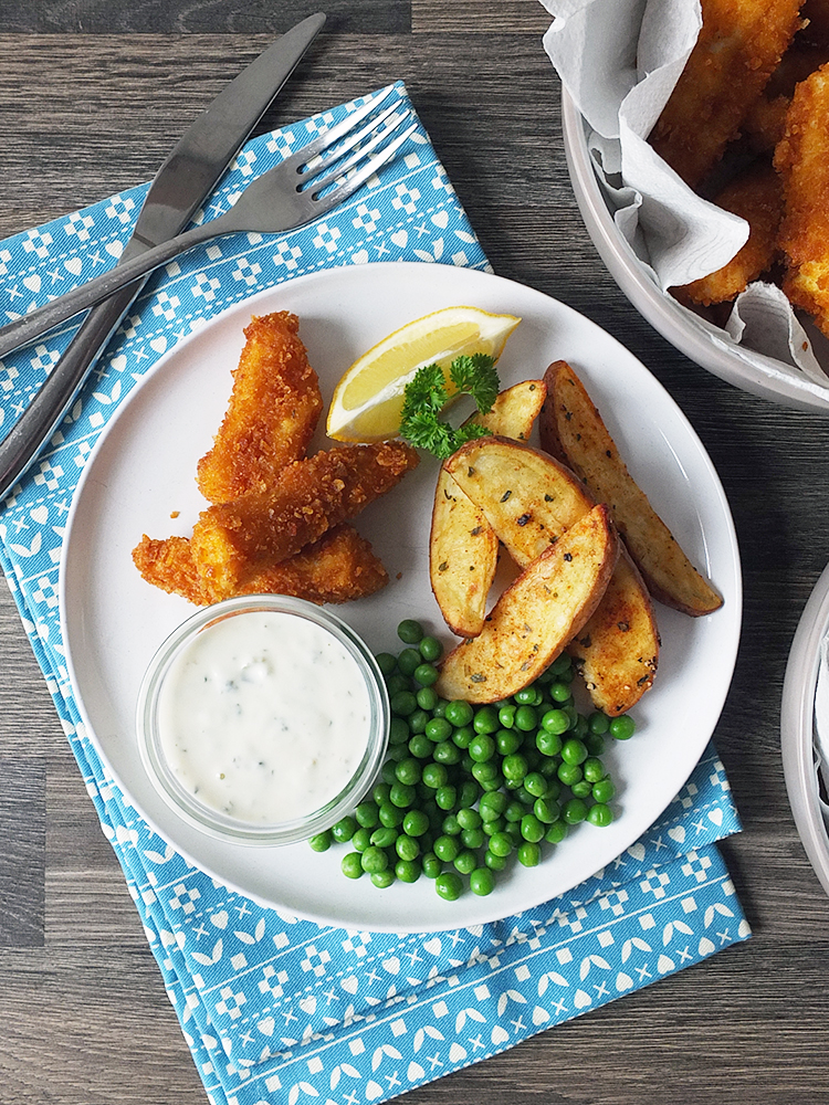 Homemade fish fingers paprika spiked potato wedges for Homemade fish food