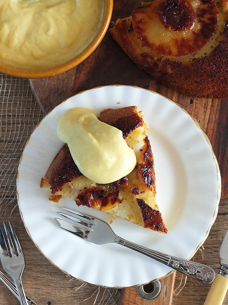 Pineapple Upsidedown Cake with Vanilla Custard
