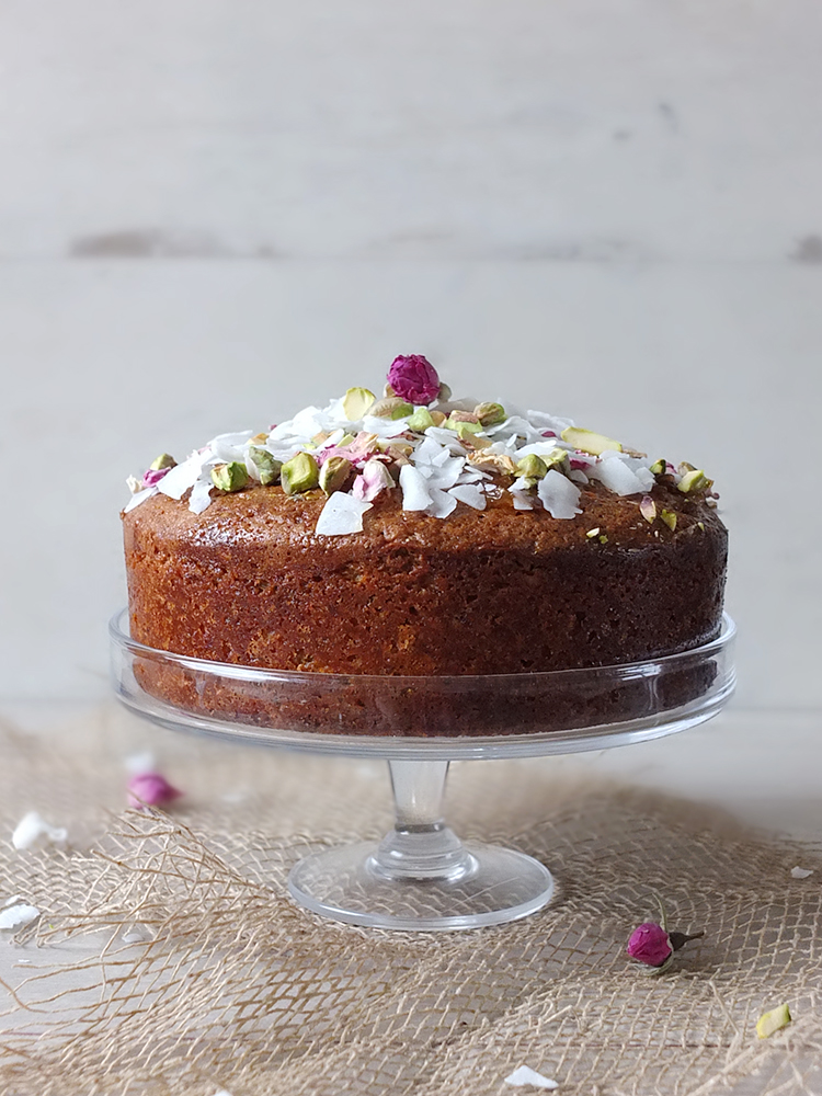 Pistachio & Coconut Cake with Rose Syrup