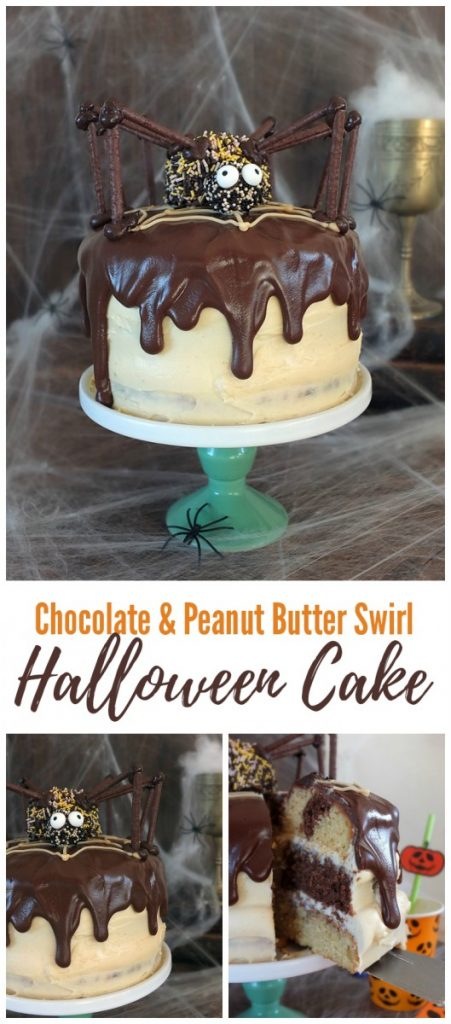 Chocolate Peanut Butter Swirl Halloween Spider Cake