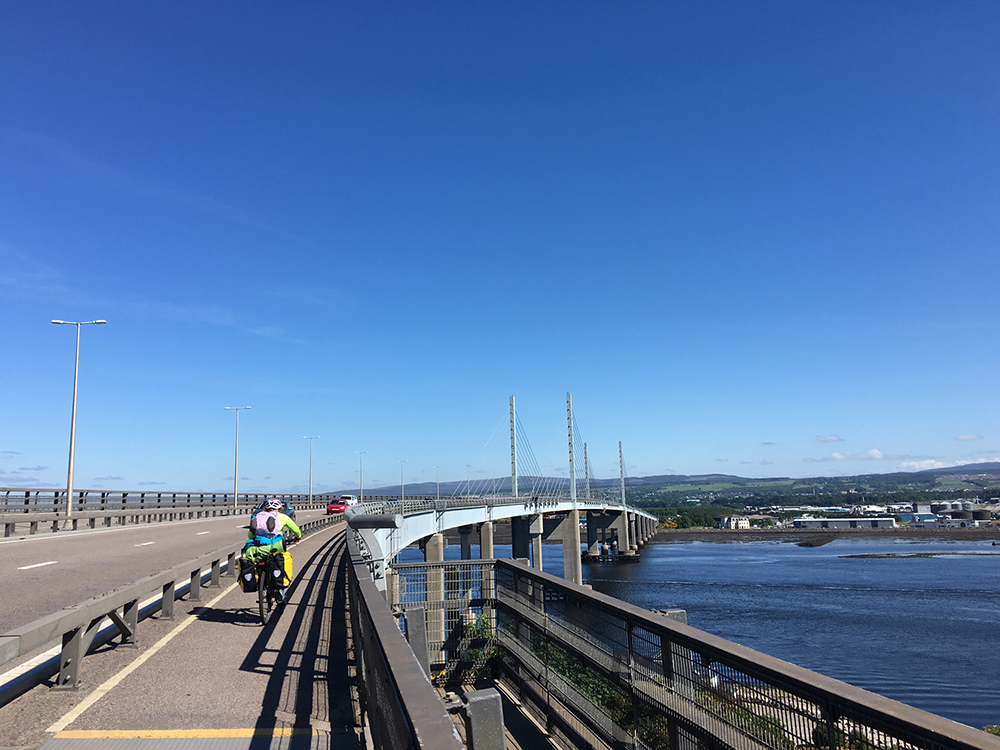 Cycling to Inverness, crossing the Kessock Bridge