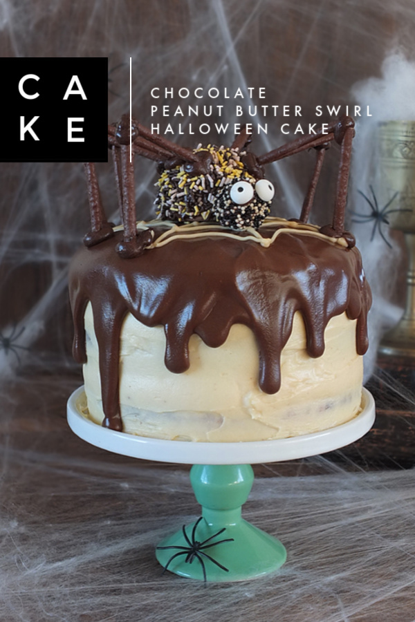 Chocolate peanut butter swirl halloween cake with a giant spider decoration! #halloween #cake #spider #chocolate #peanutbutter