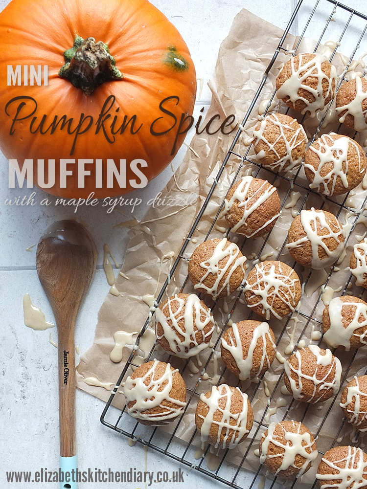 Mini Pumpkin Spice Muffins with a Maple Syrup Drizzle