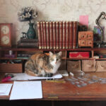 Antique Writing Desk and Craft Storage Boxes