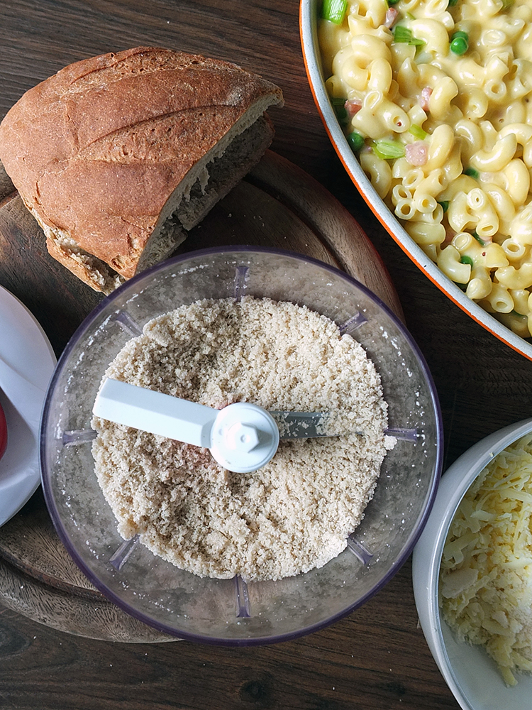 Make your own breadcrumbs and freeze for later!