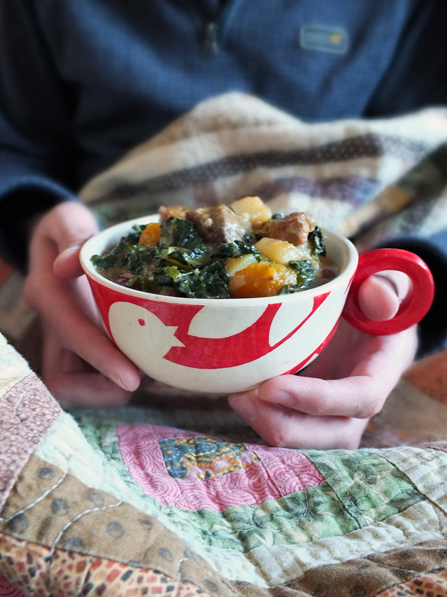 Pepperpot Stew in Pottery Bowl