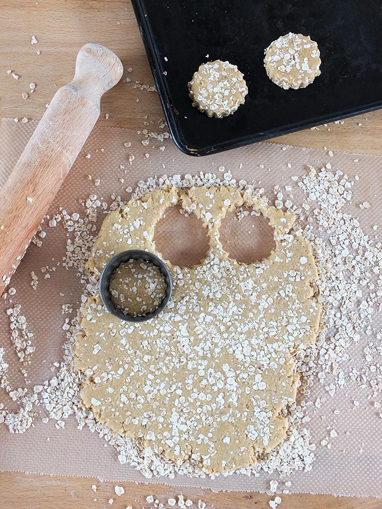 Making homemade rustic mini oatcakes