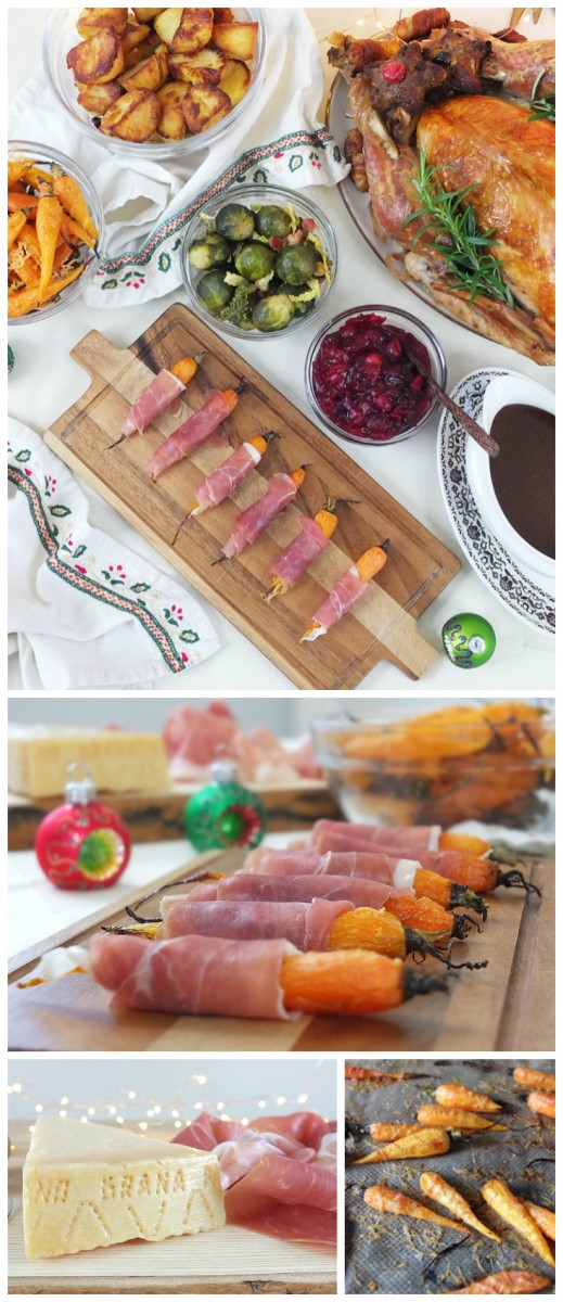 Roasted Baby Carrots with Grana Padano and Prosciutto di San Daniele - a quick and easy Christmas side dish recipe.