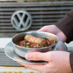 Sausages with Puy Lentils and Kale - a campfire recipe