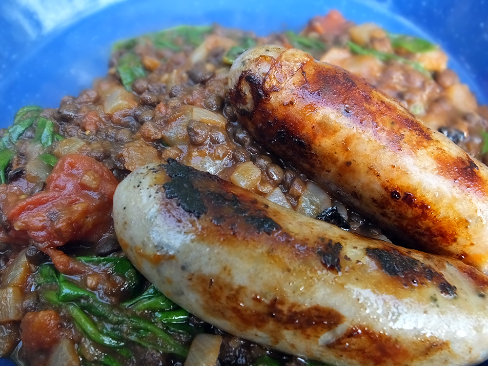 Sausages with Puy Lentils & Spinach