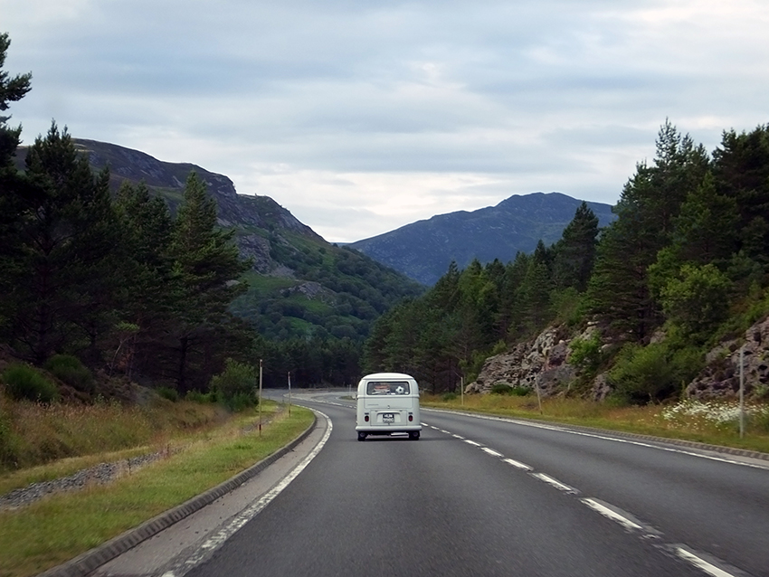 Volkswagen Camper Van in the Cairngorms