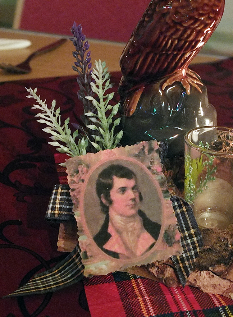 Image of the Burns Night meal centrepiece at the Skeld Hall, Shetland.