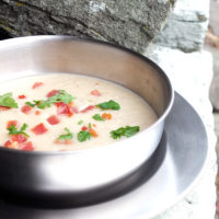 Cauliflower Bacon and Brie Soup
