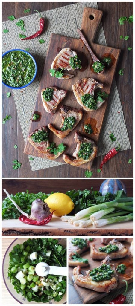 Argentine Inspired Grilled Lamb Chops with Chimichurri Sauce