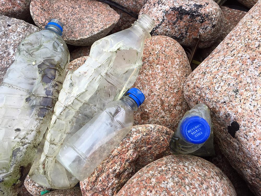 Plastic Bottles on Shetland Beach