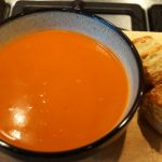 Butternut Squash Soup with Cheese Puffs by Onions & Paper