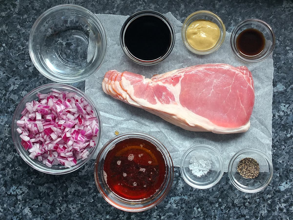Top down image of the ingredients needed for making bacon jam.