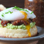 """The Hipster Cowboy"" Crumpet with Avocado, Bacon Jam & a Poached Egg"