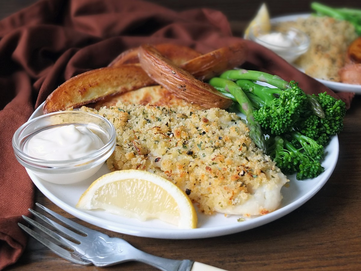 Lemon & Cracked Black Pepper Crusted Cod Fillets with Potato Wedges & Lemon Mayo, for two