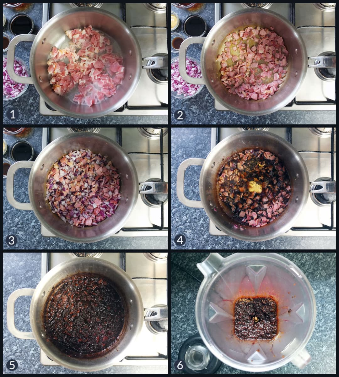 Step by step collage image how to make bacon jam from scratch.