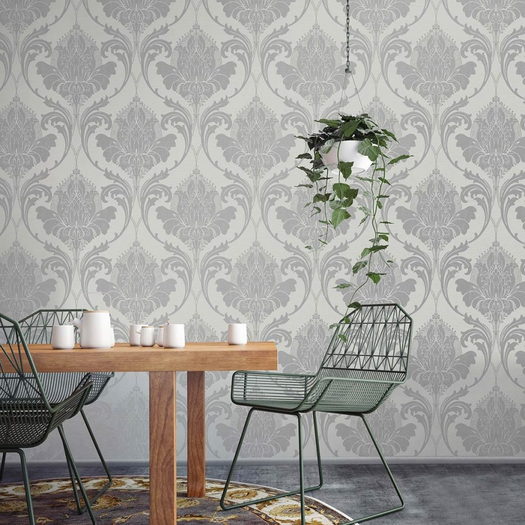 ZAHRA SILVER GREY DAMASK WALLPAPER