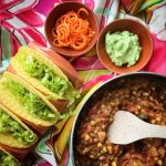 Refried Beans, Pepper & Corn Tacos with Avocado Cream by Foodie Quine