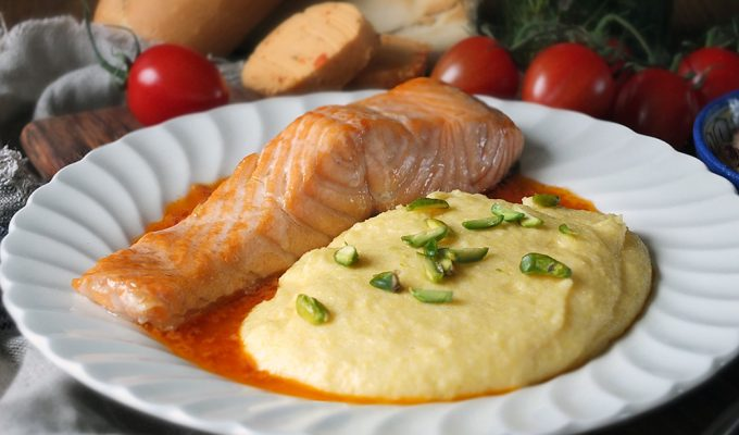 Grilled Scottish Salmon with Creamy Polenta, Pistachios & Tomato Butter