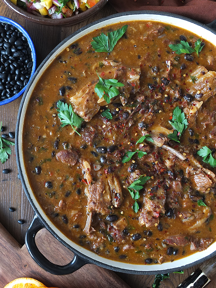 Lamb feijoada with mango salsa