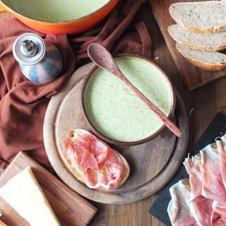 Broccoli and Watercress Soup with Grana Padano and Prosciutto di San Daniele Tartines
