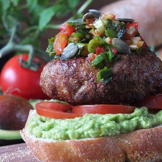 Chilean-Inspired Lamb Burger with Pebre Chilean Chilli Salsa and Marraqueta Bread Rolls