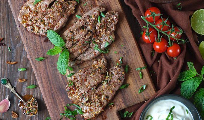 BBQ Lamb Leg Steaks with Harissa and Mint