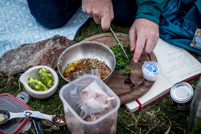 BBQ Lamb Leg Steaks with Harissa and Mint. Photography by the Hedgecombers.