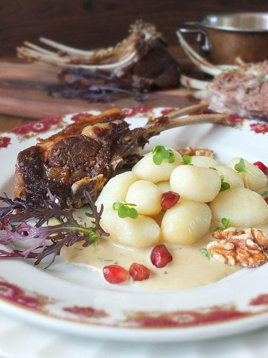 Slow-Roasted Frenched Rack of Lamb Loin Chops with Creamy Mustard Sauce